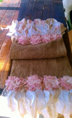 Handmade Burlap Lace Table Runner with Pastel by LeFrenchLaundry, $85.00