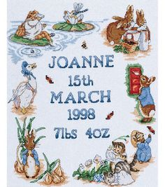 Beatrix Potter Collection. Characters from the world of Beatrix Potter and Peter Rabbit are recreated in beautiful detail! This kit contains 16 count white Aida fabric; Anchor stranded cotton floss; chart; alphabet for personalization; needle; and full instructions.