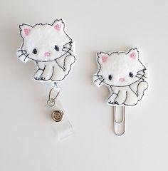 White Kitty Felt Paperclip | Badge Reel | ID Badge | Felt Badge | Badge Holder | Lanyard | Planner Clip | Planner Accessories | Cat Bookmark
