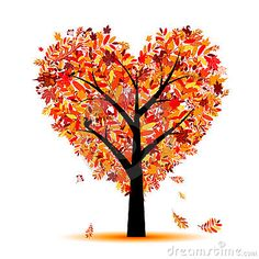 Beautiful autumn tree heart shape for your design by Kydriashka, via Dreamstime