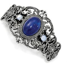 1928 Jewelry - Silver-tone Blue Acrylic & Blue Crystal Ponytail Holder (27 CAD) ❤ liked on Polyvore featuring accessories, hair accessories, blue hair accessories and crystal hair accessories