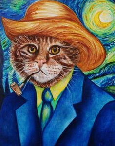 Animal Cat Paintings / Custom Cat Portrait / Cats in Clothes / Original Cat Art / Vinnie van Cat by k Madison Moore Animal Paintings, Oil Paintings, Funny Paintings, Artist Portfolio, Beautiful Cats, Dog Art, Pet Portraits, Cute Cats, Cat Lovers