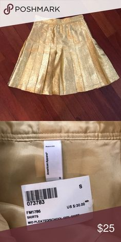 6a1fb3e417e35 American Apparel Gold Pleated Skirt NWT! American Apparel Gold Pleated Skirt !
