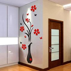 Kwok DIY Vase Flower Tree Crystal Arcylic 3D Wall Stickers Decal Home Decor
