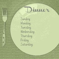 Get organized and plan out a week of dinners with this free printable.Could be laminated & used as a white board(Dry-erase board for u amerians)