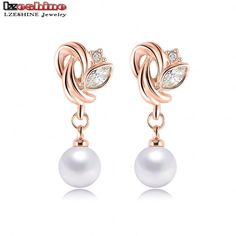 Earring Type: Stud Earrings Item Type: Earrings Fine or Fashion: Fashion Shape\pattern: Plant Material: Crystal Model Number: ER0193-A Style: Trendy Metals Type: Zinc Alloy Brand Name: LZESHINE Gender
