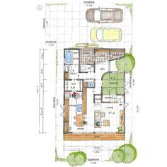 玄関入ったら中庭が見えて、いい感じですね。 大きくはないお家ですが、回遊できる間取りになっているのもいいと思います。 Japanese House, House Layouts, Building A House, House Plans, Floor Plans, House Design, Flooring, How To Plan, Architecture