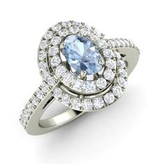 Oval-Cut Aquamarine Ring in 14k White Gold with SI Diamond