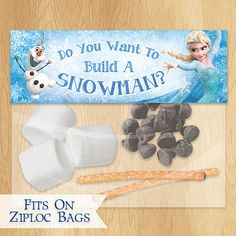 Do You Want to Build a Snowman Frozen Favor Bag Toppers - INSTANT DOWNLOAD Disney Frozen Birthday Printable Party Treat Candy Loot Bags Olaf...