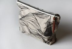 Cute zipper pouch in ships print by Jenna Rose handmade.