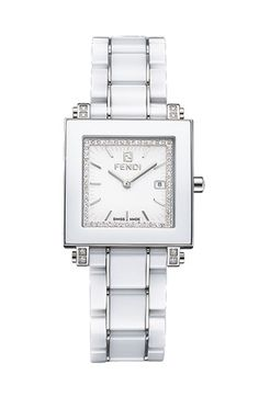 Fendi Ceramic Diamond Watch available at #Nordstrom $2095 SO CLASSSYYY LOVVEE Details & Care Clean lines are accented with brilliant diamonds on a chic, square-case watch comprised of a ceramic bezel and stainless steel bracelet band.  30mm case; 17mm band width; 185mm band length. Deployant clasp closure. Total diamond weight: 0.06ct. Water-resistant to 5 ATM (50 meters). Stainless steel/ceramic/diamonds/sapphire crystal. By Fendi; Swiss made.