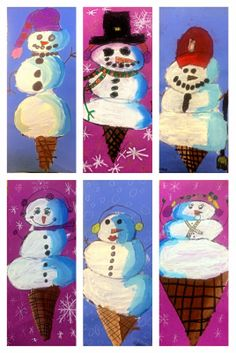 "Exploring Art: Elementary Art: Grade ""Snowman Scoops"" This looks like a lot of fun. neat spin on a normal snowman. Value and tone Christmas Art Projects, Winter Art Projects, Winter Crafts For Kids, Art For Kids, Christmas Ideas, Christmas Crafts, 3rd Grade Art Lesson, Hybrid Art, Value In Art"