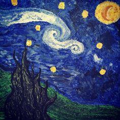 """My own starry night ✨ work in progress  #starrynight #night #art #makeartnotwar #artist #vangogh #cypress #atwork #workinprogress #painting…"""