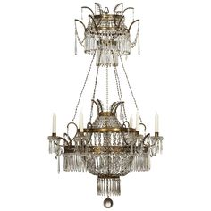 A brass and cut glass baltic chandelier from the 18th century.