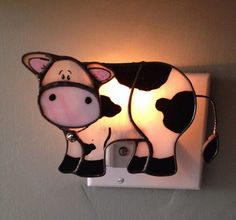 Stained Glass Cow Night Light/ Sun Catcher by CraftsbyTine on Etsy Just Love, Stained Glass Night Lights, Spectrum Glass, Cow Decor, Cow Face, Twisted Metal, Nightlights, Sun Catcher, Jingle Bells