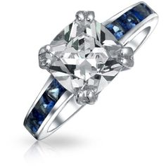 Bling Jewelry Bling Jewelry Sterling Silver Princess Cut Cz Blue... (£24) ❤ liked on Polyvore featuring jewelry, rings, blue, square engagement rings, sterling silver engagement rings, engagement rings, fake engagement rings and square wedding rings