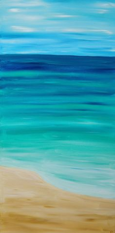 """""""Serenity"""" - For when you can't get away to the beach, bring the beach to you.   Large 15 inch by 30 inch painted canvas   acrylic painting, wall art, abstract painting, abstract art, fine art, beach  """