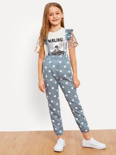 Shop Girls Ruffle Strap Polka Dot Print Jumpsuit online. SheIn offers Girls Ruffle Strap Polka Dot Print Jumpsuit & more to fit your fashionable needs.