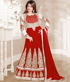 Buy Red Georgette Long Anarkali Suit 72825 online at lowest price from huge collection of salwar kameez at Indianclothstore.com.