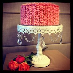 Pink ruffle cake - by cjsweettreats @ CakesDecor.com - cake decorating website