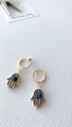 Huggie earrings for non pierced ears   little hoops hand of Fatima     #141 Evil Eye Earrings, Stud Earrings, Pierced Earrings, Little Hoop Earrings, Trendy Fashion Jewelry, Hand Of Fatima, Hamsa Hand, Ear Piercings, Gold Jewelry