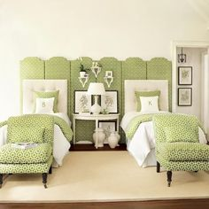 greenery - interesting use of one green and white geometric print, love the screen panels, demilune table, white tufted headboards - suzanne kasler - 3.17.2013