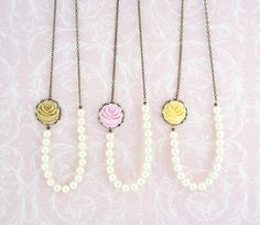 Pearl Necklace - Flower Necklace - Bridesmaids Gifts - Choose Your Color, Floral Accessories