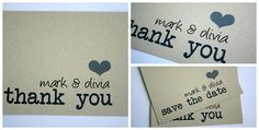 Gray heart wedding thank you postcards