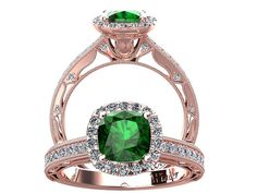 Cushion Cut Emerald And Diamond Engagement Ring Rose by WinterFJ