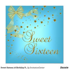 Sweet Sixteen 16 Birthday Party Gold Stars Blue Card Sweet Sixteen 16 Birthday Party Gold Stars Blue Teal Invitation All Occasions Party birthday invites