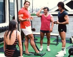 Arnold Schwarzenegger and Sylvester Stallone - workout session in Venice Beach. 1980's