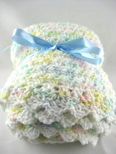 Handmade Reversible Crochet Knit Crib Size Baby Blanket FREE SHIPPING