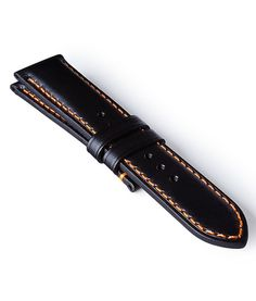 Bremont Leather Strap Black-Orange 22mm Regular #add-content #brand-watch-straps #classic #delivery-timescale-1-2-weeks #material-leather #official-stockist-for-bremont #packaging-bremont #subcat-bremont-straps-22mm #supplier-model-no-br-163-2026