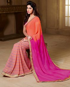 Peach and pink shaded sari with golden border   1. Peach and pink georgette sari2. Comes with matching unstitched blouse