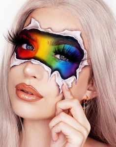 We love this Pride look by the amazing Abby Roberts Artistry MUA using our new c… - Makeup Looks Dramatic Face Paint Makeup, Eye Makeup Art, Colorful Eye Makeup, Eyeshadow Makeup, Makeup Eraser, Sfx Makeup, Makeup Eyes, Cool Makeup Looks, Crazy Makeup