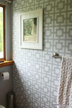 Stenciled Bathroom Wall