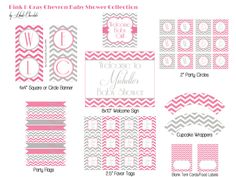 Baby Shower Decor Package. Pink & Gray Chevron Printable Baby Shower or Bridal Shower Decorations.. $20.00, via Etsy.