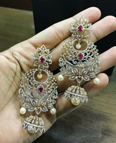 18 Carat gold diamond ruby earrings by P Satyanarayan and Sons Jewellers. Diamond Earrings Indian, Diamond Necklace Set, Ruby Earrings, Gold Hoop Earrings, Diamond Jewelry, Gold Jewelry, Diamond Choker, Diamond Studs, Gold Necklace