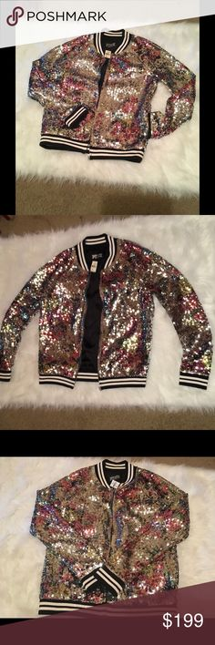 Victoria secret PINK bling sequin bomber jacket M Clearing out my Victoria's Secret pink collection. NWT size M Victoria secret pink full sequin bling fashion show bomber jacket. Jacket has two pockets on the side and love pink on the back in black sequins.  Absolutely one of my most favorite collections. Ask for more pics if needed PINK Victoria's Secret Jackets & Coats