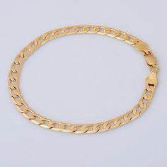 """18K Yellow Gold Filled Mens Bracelet Chain 8.6"""" 6.5g Valentines Day Gift B57"""