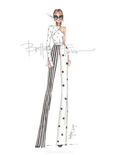 polka dota | thassia | stripes | spring trends | fashion illustration | mixed patterns | mixed prints | mixing prints | Brittany Fuson
