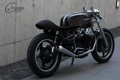 Guzzi Cafe Racer by Tricana Motorcycles Cafe Racer Motorcycle, Motorcycle Outfit, Custom Motorcycles, Cars And Motorcycles, Street Tracker, Moto Guzzi, My Ride, Bobber, Motorbikes