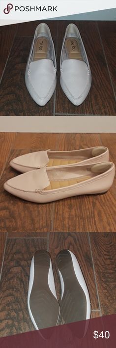 Me too flats Size 8 blush colored pointed toe flats. Like new worn once. I put a heel gripper in them but they can easily be removed if desired me too Shoes Flats & Loafers