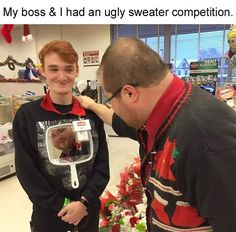 New Ideas For Funny Christmas Pictures Humor Ugly Sweater Funny Shit, Crazy Funny Memes, Stupid Memes, Funny Relatable Memes, Haha Funny, Funny Cute, Funny Posts, Hilarious, Funny Humor