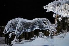 wolves ice sculpture