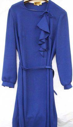 Autumn clothingVintage blue crepe-like dress circa by BoxV on Etsy