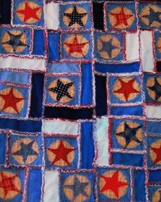 Stars and Bars Rag Quilt in Denim and Red