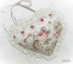 Fabric Heart Door Hanger, Antique Roses, Lace Heart, Beaded, Cottage Style, Shabby Chic, Mothers Day, Hanging Heart, Pink, Victorian