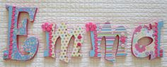 Emma  8 Decoupaged Wooden Letters for by DecorativeDecoupage, $76.00