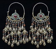 Central Asia | Fire-gilded silver Earrings with turquoise, coral and glass. | Bukhara, ca. 1910 | ©Peter Kubal